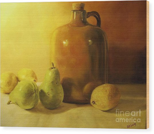 Pears And Lemons Wood Print