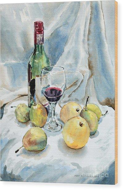 Pears And Wine Wood Print