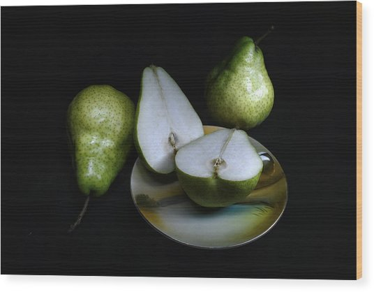 Pears On Noritake - Still Life Wood Print