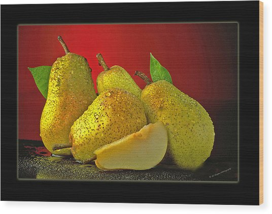 Pears On Red Background Wood Print by Ed Hoppe