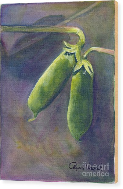 Peas On The Vine Wood Print