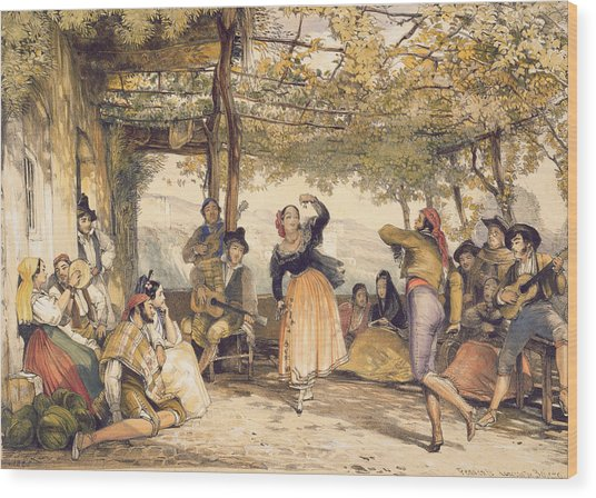 Peasants Dancing The Bolero Wood Print