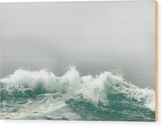Pebble Beach In The Fog Wood Print