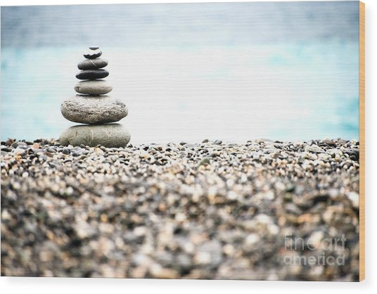 Pebble Stone On Beach Wood Print