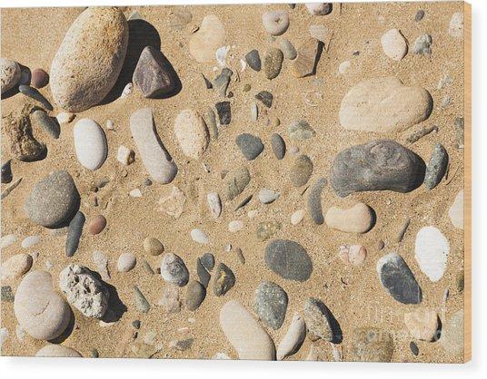 Pebbles On Beach Pattern Wood Print