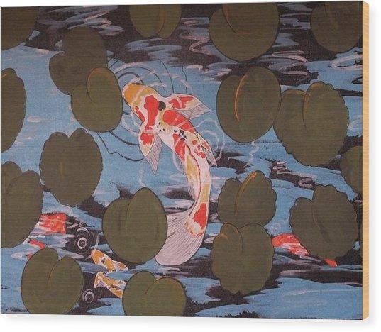 Peeking Koi Wood Print