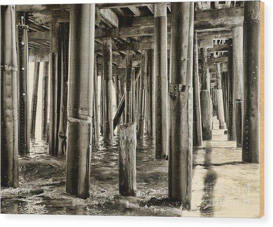 Peeking Under The Pier By Diana Sainz Wood Print