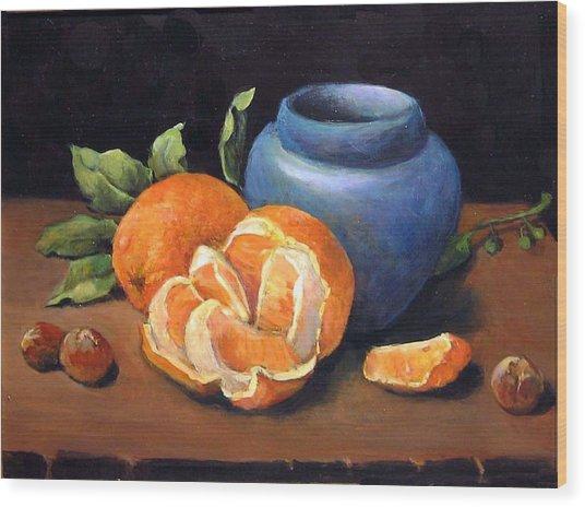 Peeled Orange Wood Print