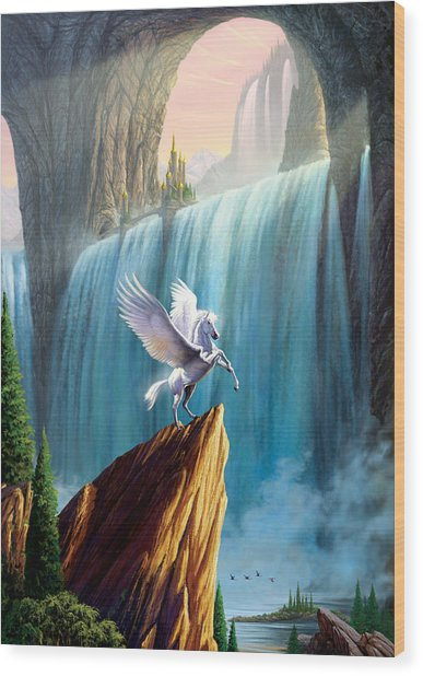 Pegasus Kingdom Wood Print