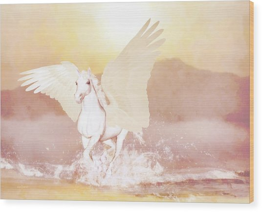 Wood Print featuring the painting Pegasus   by Valerie Anne Kelly
