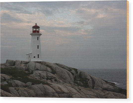 Peggy Point Lighthouse Wood Print by Tammy and Dale Anderson