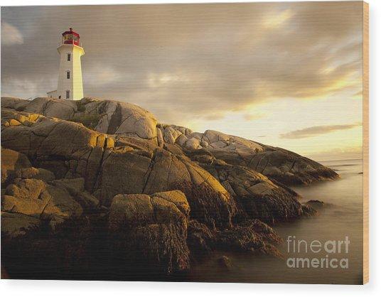 Peggys Cove Lighthouse Nova Scotia Wood Print