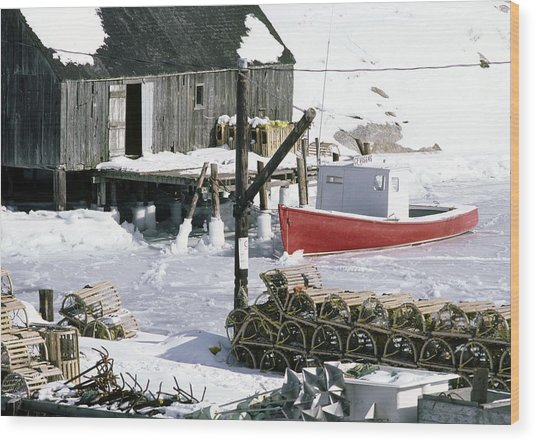 Peggy's Cove Nova Scotia Canada In Winter Wood Print