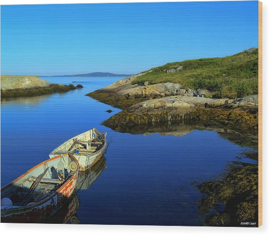 Peggys Cove Row Boats Wood Print