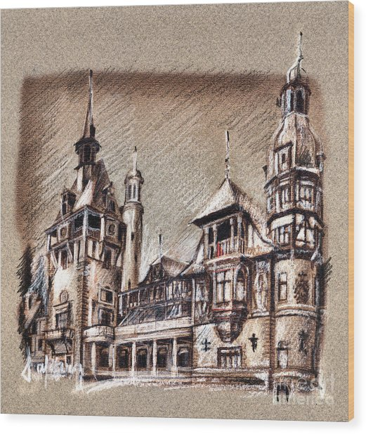 Peles Castle Romania Drawing Wood Print