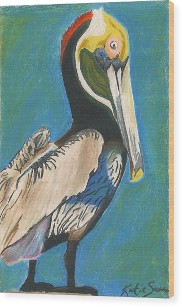 Pelican Blue Wood Print