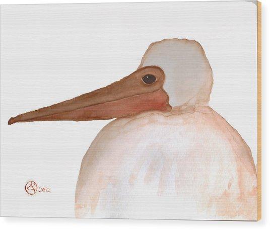 Pelican Chick Wood Print by Alexandra  Sanders