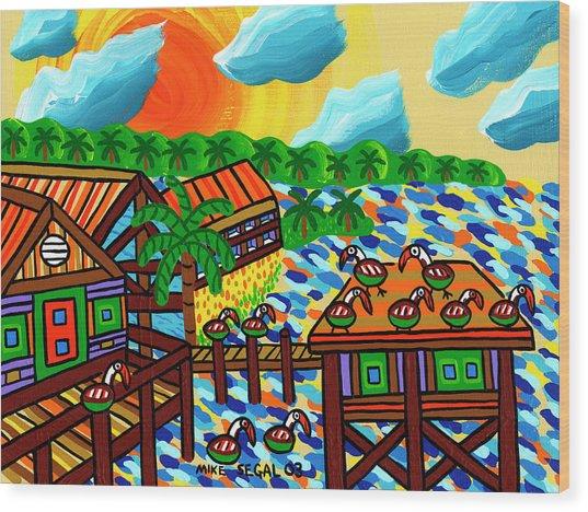 Pelican Convention Cedar Key Wood Print