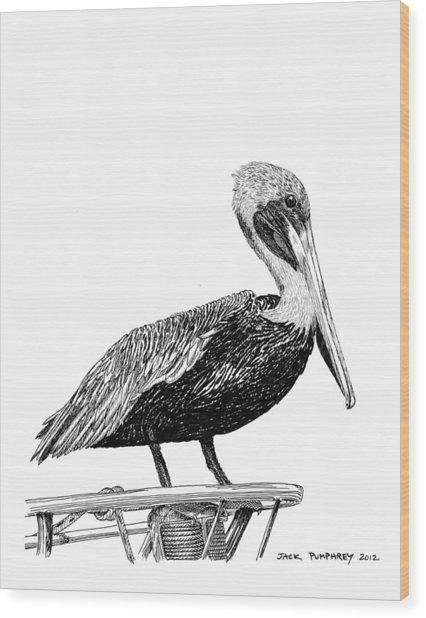 Monterey Pelican Pooping Wood Print