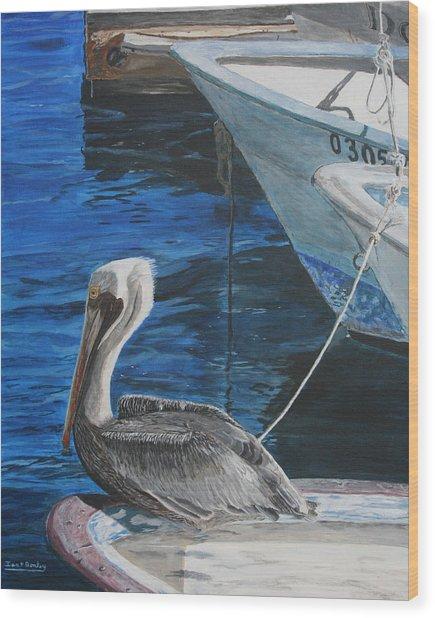 Pelican On A Boat Wood Print