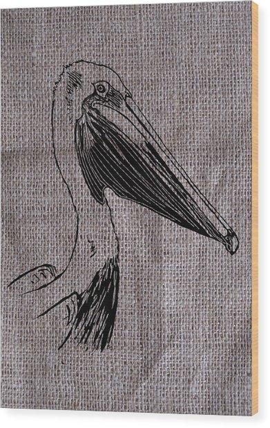 Pelican On Burlap Wood Print