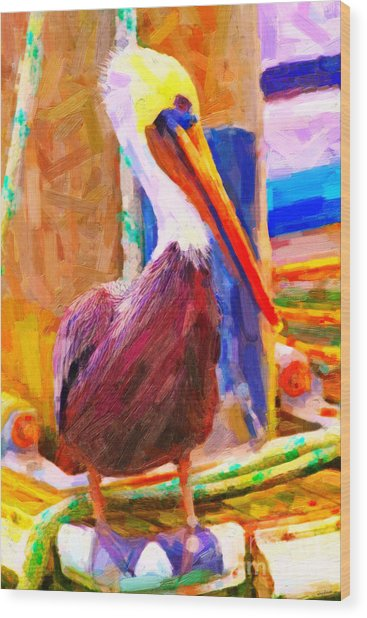 Pelican On The Dock Wood Print