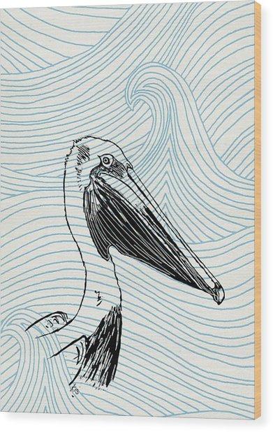 Pelican On Waves Wood Print