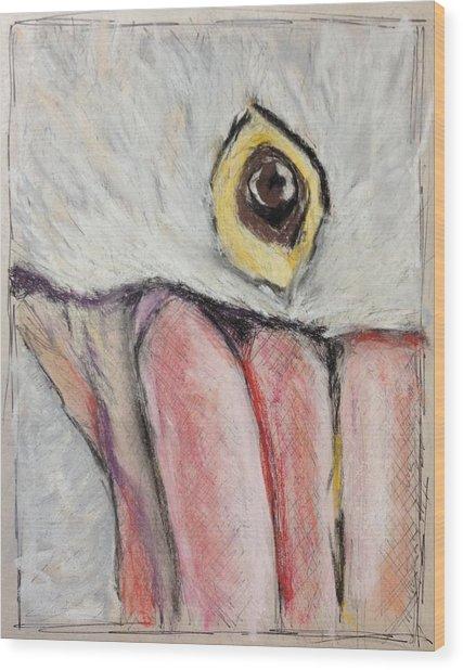Pelican's Gaze - Study In Pastel Wood Print