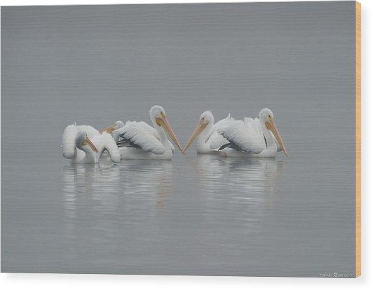 Pelicans In The Mist Wood Print