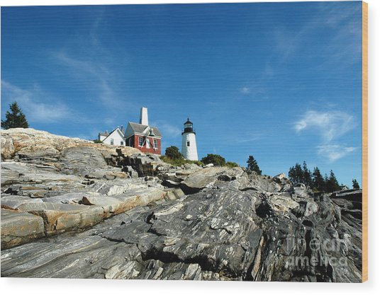 Pemaquid Point Wood Print by Alan Russo