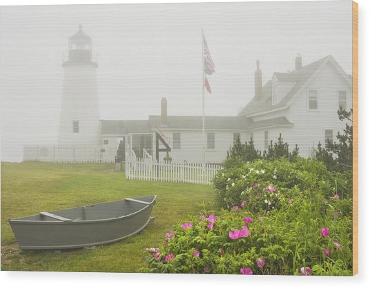 Pemaquid Point Lighthouse In Fog Maine Prints Wood Print