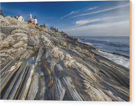 Pemaquid Point Scenic Maine Wood Print by George Oze