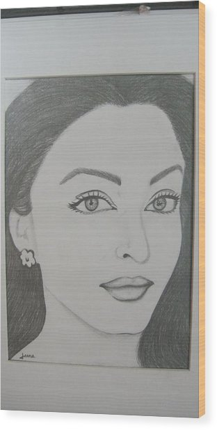 Pencil Drawing Wood Print by Rejeena Niaz