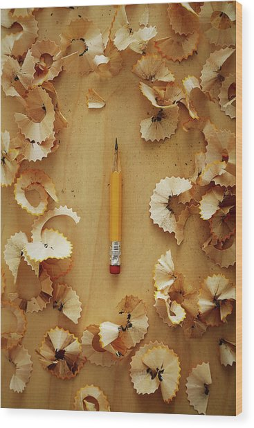 Pencil Sharpened Down To A Stub Wood Print by Joseph Clark