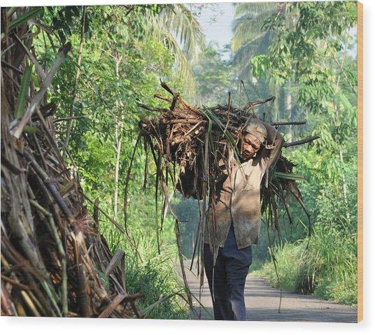 Pengangkut Tebu Wood Print by Achmad Bachtiar