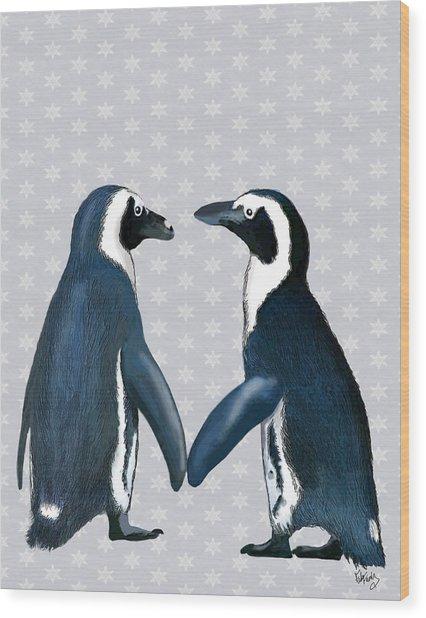 Penguins In Love Wood Print by Kelly McLaughlan