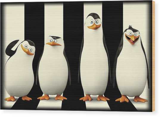 Penguins Of Madagascar Wood Print