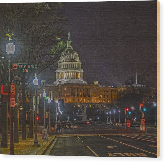 Penn Ave Wood Print