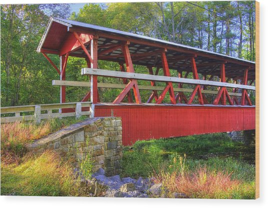 Pennsylvania Country Roads - Colvin Covered Bridge Over Shawnee Creek - Autumn Bedford County Wood Print