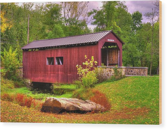 Pennsylvania Country Roads - Everhart Covered Bridge At Fort Hunter - Harrisburg Dauphin County Wood Print