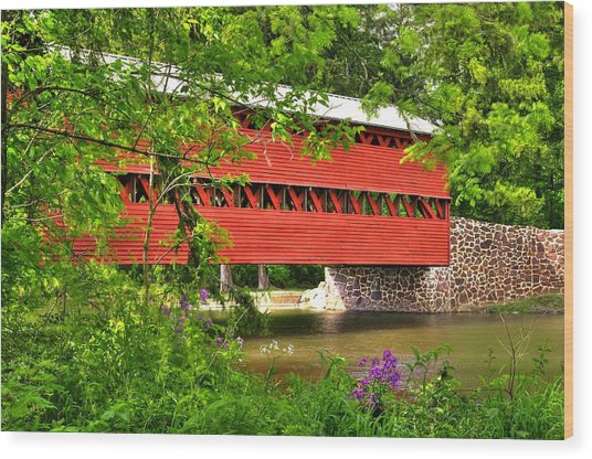 Pennsylvania Country Roads - Sachs Covered Bridge Over Marsh Creek-3b - Shade Of Spring Adams County Wood Print