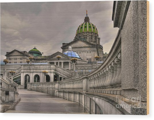 Wood Print featuring the photograph Pennsylvania State Capital by Lois Bryan