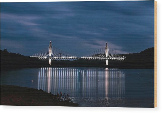 Penobscot Narrows Bridge And Observatory At Night Wood Print
