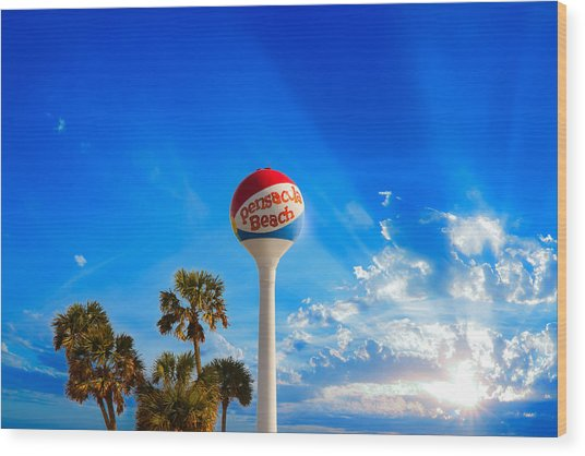 Pensacola Beach Ball Water Tower And Palm Trees Wood Print