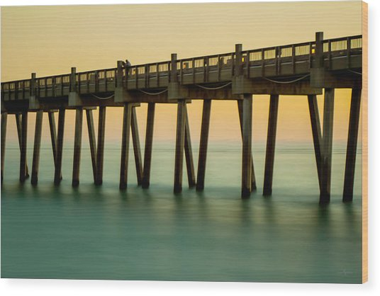 Pensacola Beach Fishing Pier Wood Print