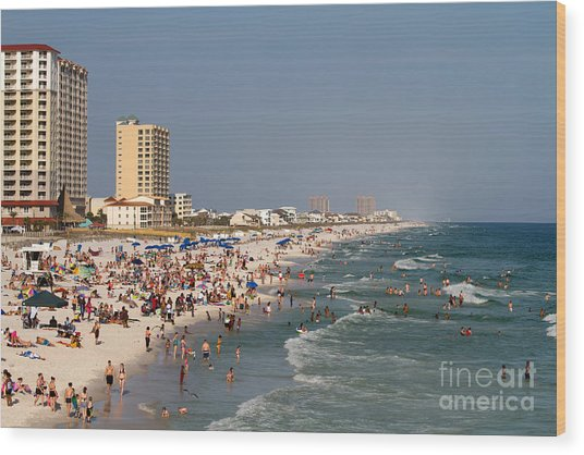 Pensacola Beach Tourists Wood Print