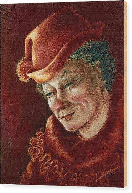 Pensive Clown Wood Print