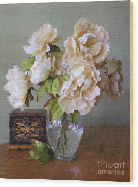 Peonies In Glass Vase Wood Print