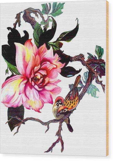 Peony And Birds Wood Print