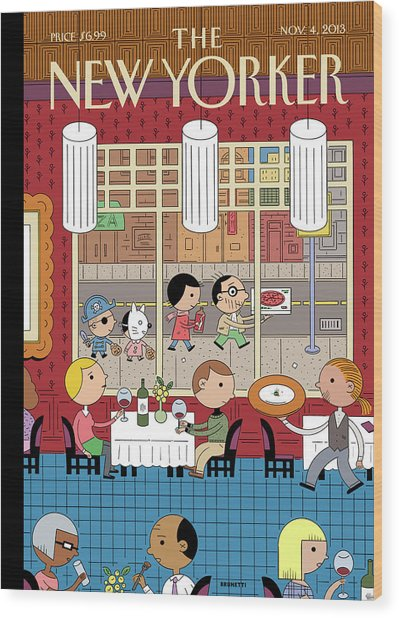 People Enjoying Dinner In The City Wood Print by Ivan Brunetti